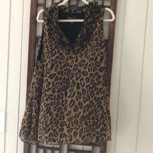 Cheetah print silk shell
